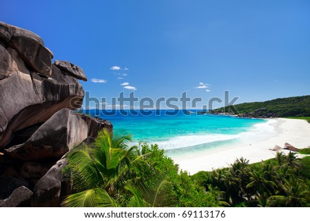 Grand Anse beach on La Digue island in Seychelles - stock photo