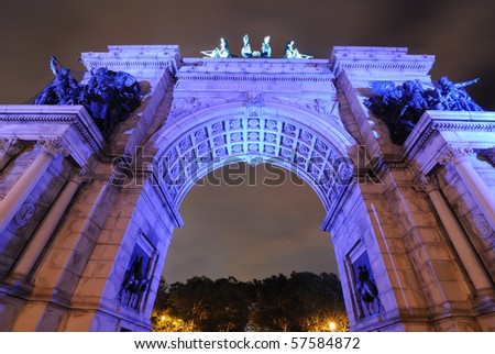 Grand Army Plaza in Brooklyn New York City commemorating the Union Victory during the Civil War. - stock photo