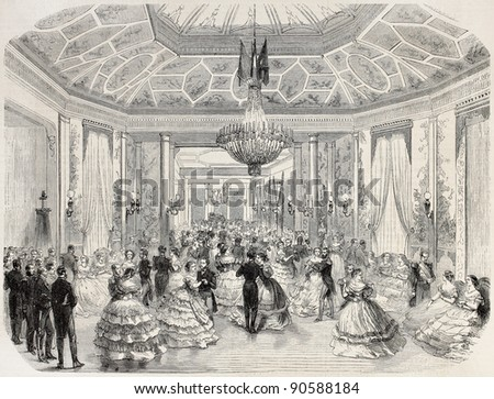 Grand Ball offered in Le Havre by Brazilian navy officers in occasion of Brazilian emperor birthday. Created by Godefroy-Durand after Barbin, published on L'Illustration Journal Universel, Paris, 1858 - stock photo