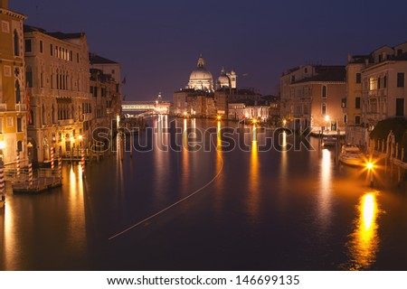 Grand canal after sunset, Venice, Italy