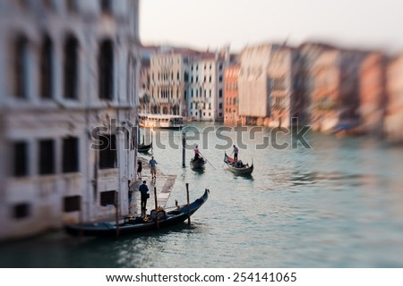 Grand Canal after sunset, Venice - Italy  - stock photo
