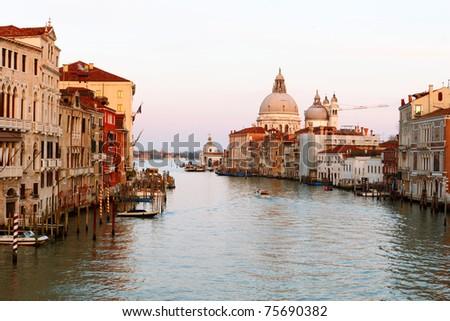 Grand canal and Basilica di Santa Maria della Salute in Venice. - stock photo