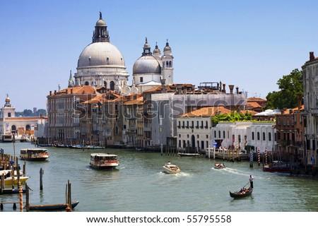 Grand Canal and Basilica di Santa Maria della Salute in Venice, Italy - stock photo
