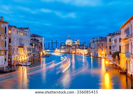 Grand Canal and Basilica Santa Maria della Salute at night, Venice. - stock photo