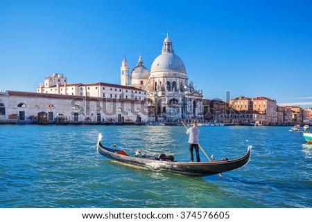 Grand Canal and Basilica Santa Maria della Salute in Venice, Italy - stock photo