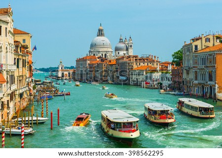 Grand Canal and Basilica Santa Maria della Salute .Venice.Italy - stock photo