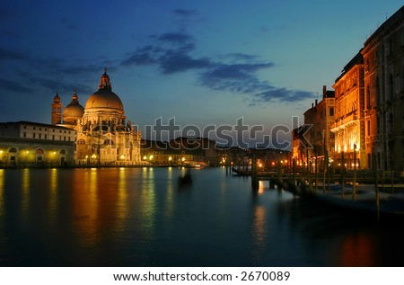 Grand Canal and Santa Maria della Salute church at evening in Venice, Italy. - stock photo