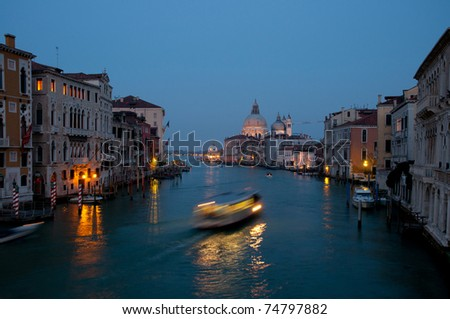 Grand Canal and Santa Maria della Salute church at evening in Venice, Italy.
