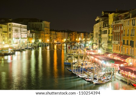 Grand Canal at night, Venice, Italy