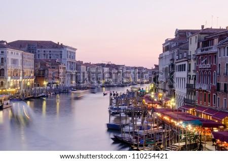 Grand Canal at night, Venice, Italy - stock photo