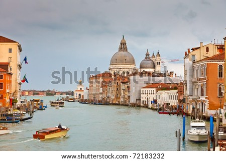 Grand canal at rainy day, Venice - stock photo