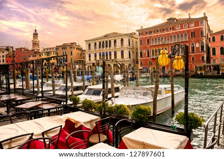 Grand Canal at sunset, Venice, Italy. - stock photo
