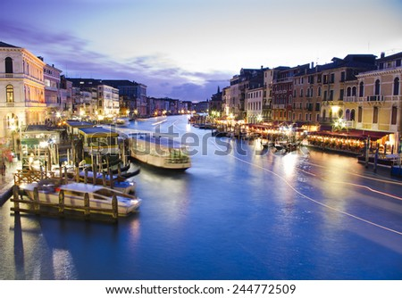 Grand Canal in night, Venice, Italy - stock photo