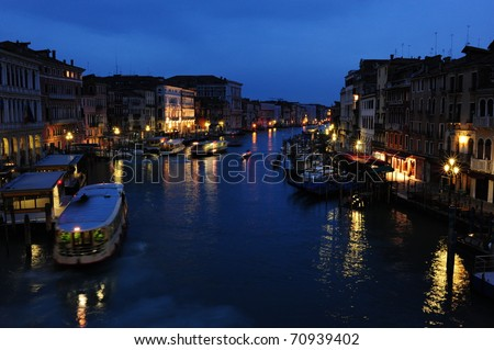 Grand Canal in Venice by night