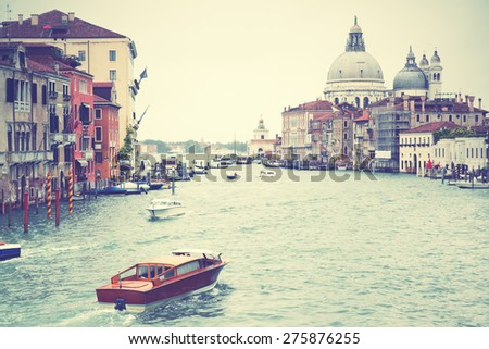 Grand Canal in Venice, Italy.  Instagram style filtred image - stock photo