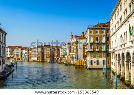 Grand Canal, main channel in Venice, Italy - stock photo