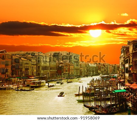 Grand Canal of Venice at Sunset - stock photo