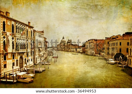 Grand canal -Venice - artwork in painting style - stock photo