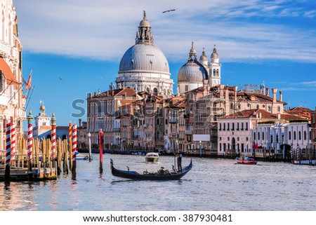 Grand Canal with gondola in Venice, Italy