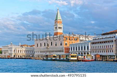 Grand Canal with St Marks Campanile bell tower and Palazzo Ducale, Doge Palace, in Venice, Italy