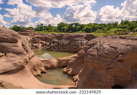 Grand Canyon amazing of rock in Mekong river, Ubonratchathani Thailand. - stock photo
