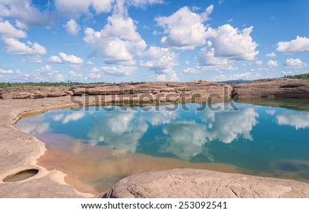 Grand Canyon amazing of rock in Mekong river, Ubonratchathani Thailand - stock photo