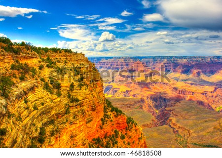 Grand Canyon, Arizona USA. This was processed using hdr techniques to bring out more vivid colors in both skies, highlights and shadows.