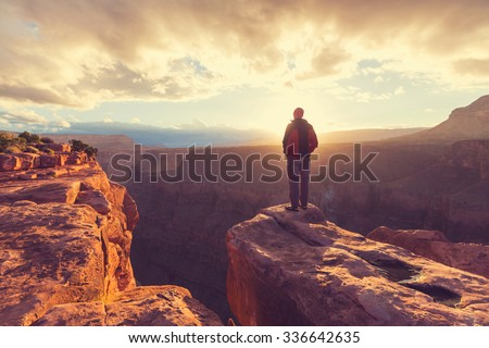 Grand Canyon at sunrise - stock photo