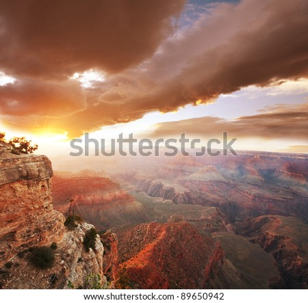 Grand Canyon at sunrise - stock photo