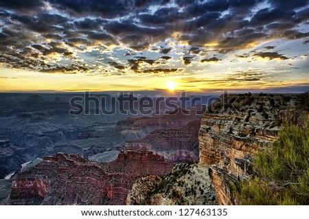 Grand Canyon at sunrise, horizontal view - stock photo