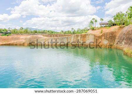 Grand canyon chiang mai ,quarry pond for swimming lake at  Chiang Mai, Thailand - stock photo