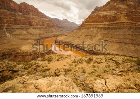 Grand Canyon Colorado river red big walls near las vegas - stock photo
