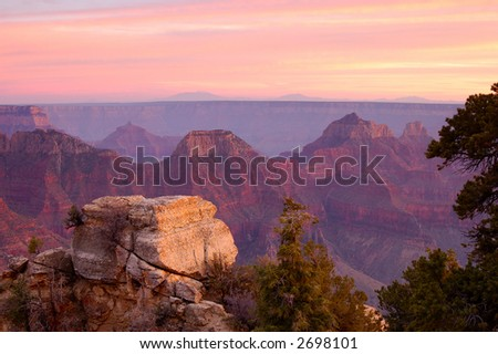 Grand Canyon from Bright Angel viewpoint (North Rim) at sunset. - stock photo
