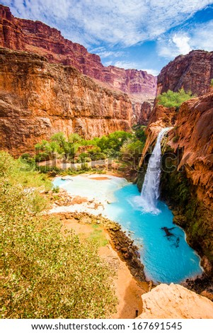 Grand Canyon, Havasu Falls, travertine pool - stock photo