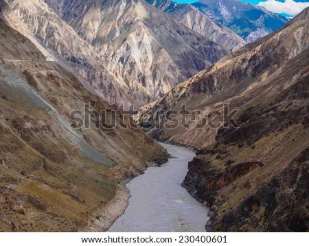 Grand canyon in Nujiang river, China - stock photo