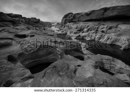 Grand canyon in thailand black and white tone. - stock photo