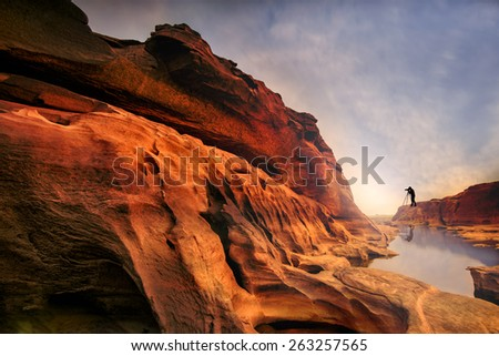 Grand canyon in thailand with photographer. - stock photo