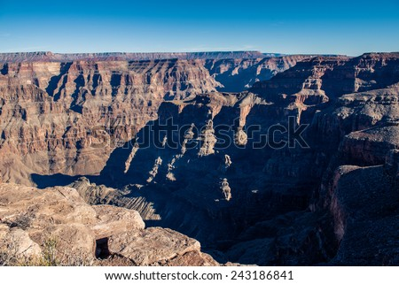 Grand Canyon Mountain Layer at the Guano Point West Rim wtih Blue Sky
