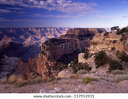 Grand Canyon National Park, Arizona is one of the wonders of the world/Grand Canyon/Formed by wind and water the giant gorge called the Grand Canyon is exciting to see from all sides. - stock photo