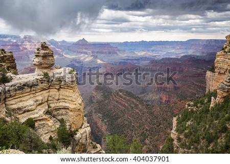 Grand Canyon National Park during a summer rainy day, Arizona, USA - stock photo