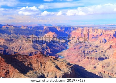 Grand Canyon National Park in Arizona, United States. Colorado River visible. Navajo Point view.