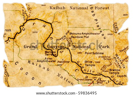 Grand Canyon National Park on an old torn map from 1949, isolated. Part of the old map series. - stock photo