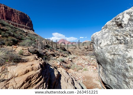 Grand Canyon National Park-S Rim- Tonto Trail West -Horn Creek - stock photo