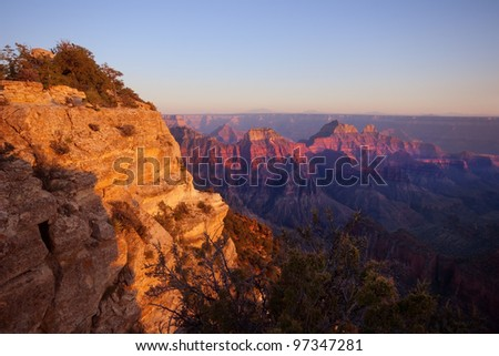 Grand Canyon North Rim at Sunset - stock photo