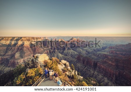 Grand Canyon, North Rim, Bright Angel Point at evening, Arizona, USA, Vintage filtered style - stock photo