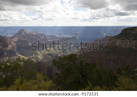 Grand Canyon (North Rim) - view from North Kaibab Trail - stock photo