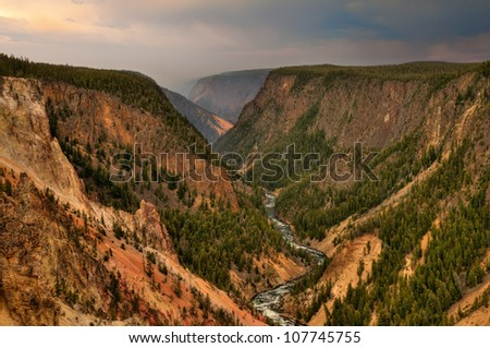 Grand Canyon of the Yellowstone in Yellowstone National Park, Wyoming. - stock photo