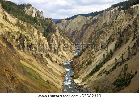 Grand Canyon of the Yellowstone, Yellowstone National Park, Wyoming, United States. - stock photo