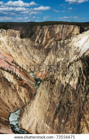 Grand canyon of Yellowstone River beneath the lower falls - stock photo