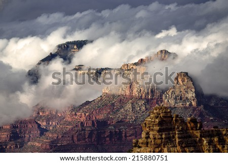 Grand Canyon on a cloudy day. - stock photo